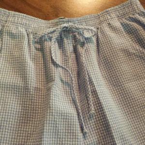 Koret Pants - Koret Pastel Blue Checkered Capri Large Pockets